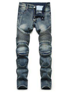 Multi-pocket Light Wash Tapered Jeans - Denim Dark Blue 42
