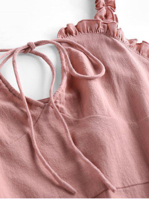 latest ZAFUL Ruffled Keyhole Mini Dress - LIPSTICK PINK S Mobile
