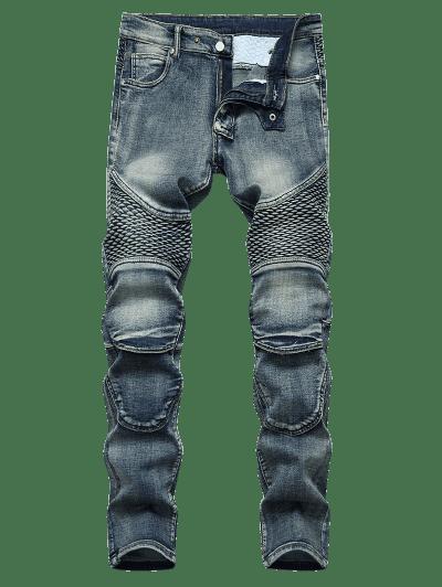 Multi-pocket Light Wash Tapered Jeans
