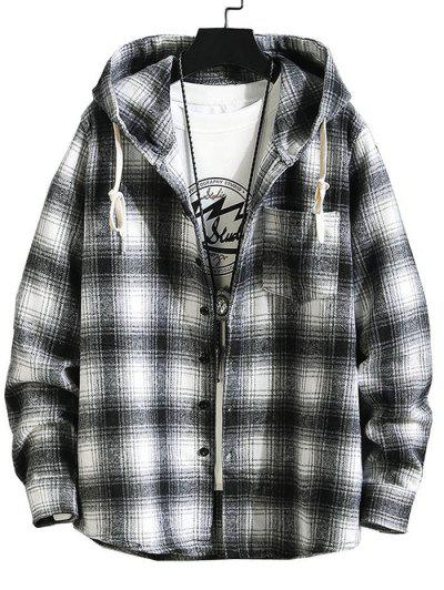 Hooded Plaid Print Button Up Shirt - Black L