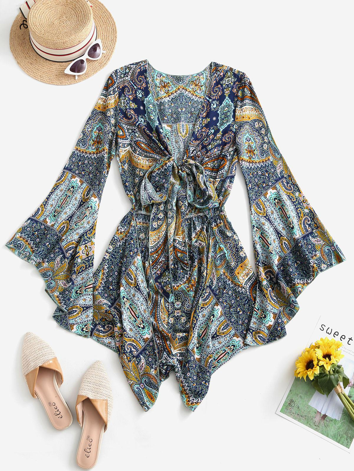 Printed Cut Out Tie Front Flare Sleeve Romper