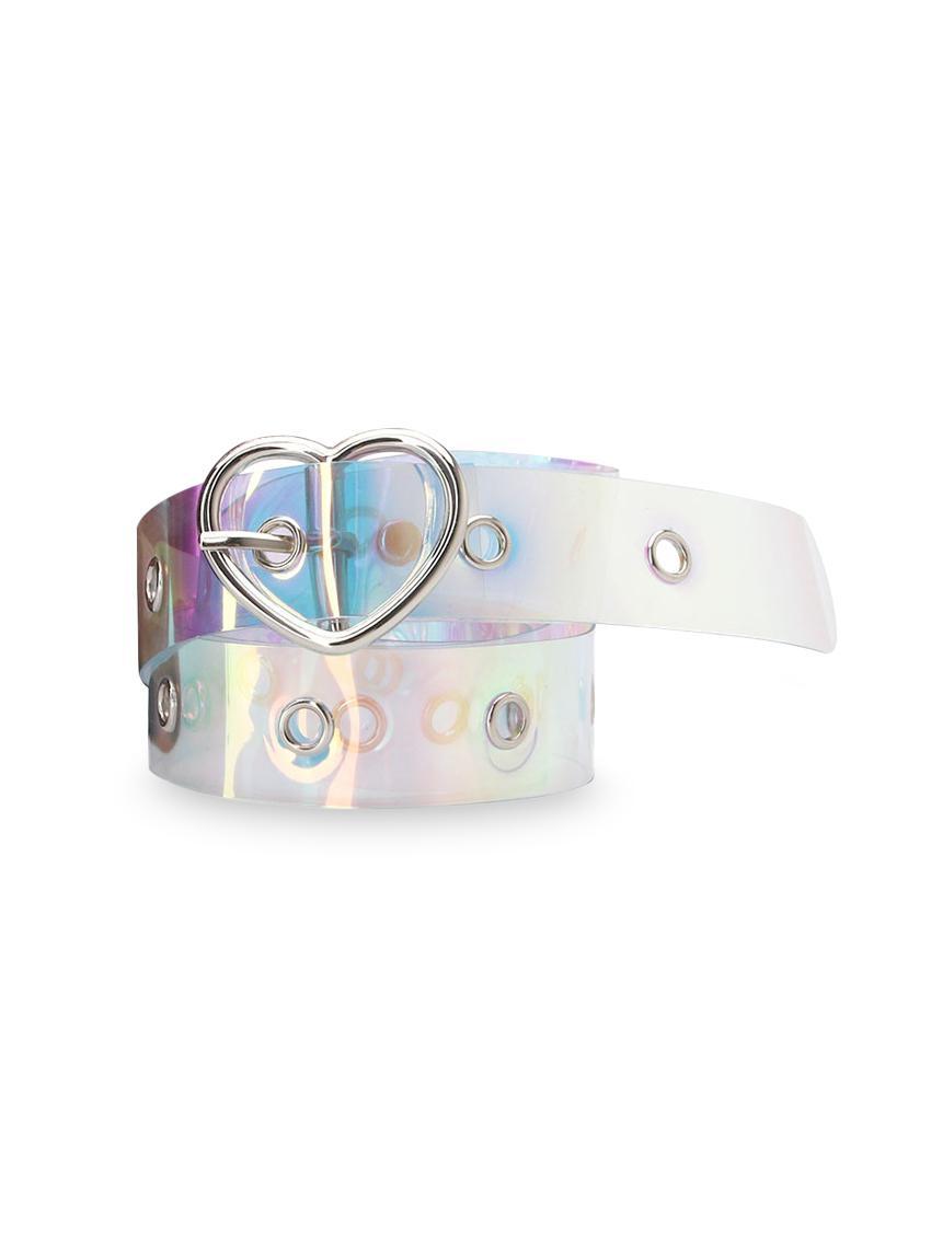 Plastic Laser light Heart Buckle Belt
