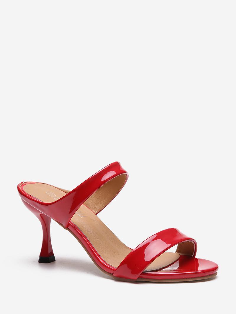 PU Solid Color Stiletto Heel Sandals