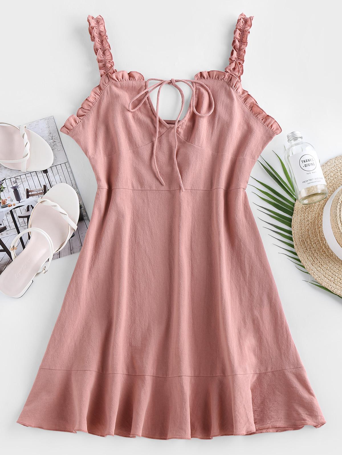 ZAFUL Ruffled Keyhole Mini Dress