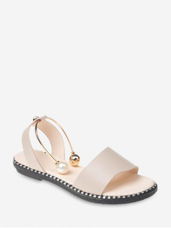 hot Pearl Embellish Strap Flat Sandals - BEIGE EU 39