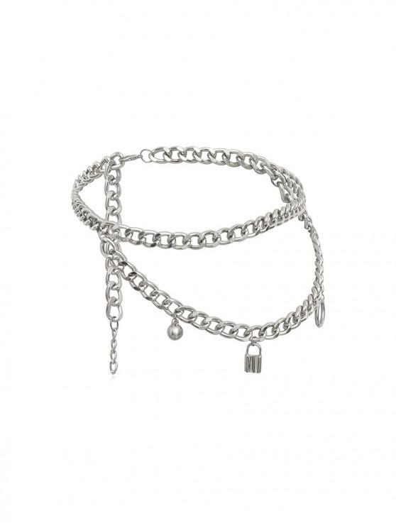 Collar de Capas de Cadena con Colgante de Cerradura - Plata