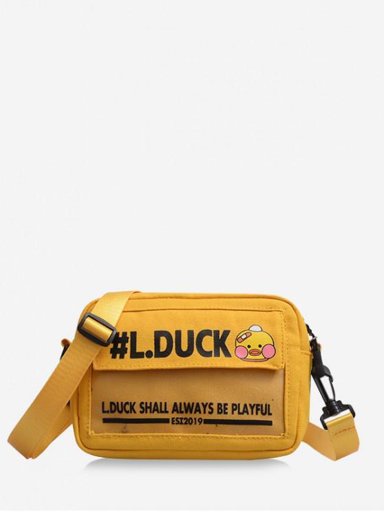 Bolsa Cruzada Estampado Pato Caricatura - Amarillo