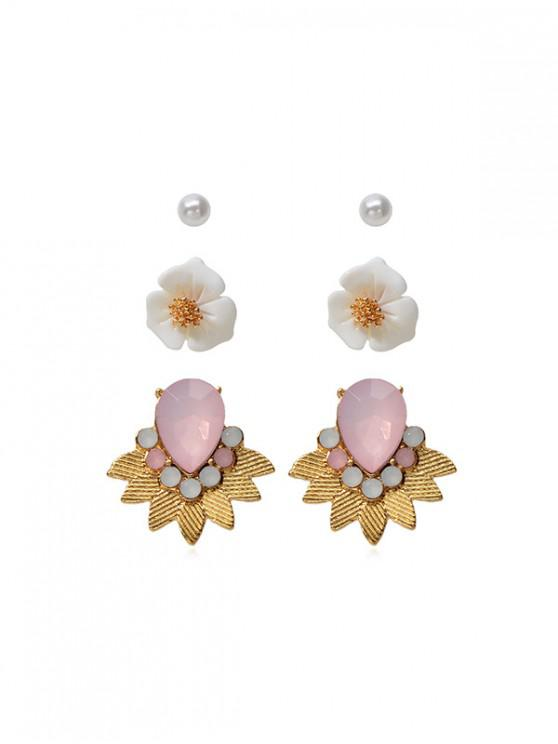 Conjunto de Pendientes de Flor de Perla de Imitación de 3 Pares - Oro