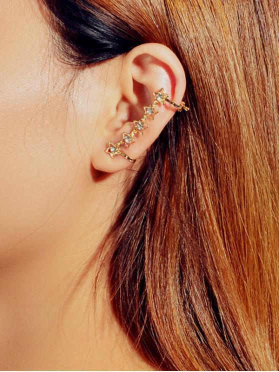 Manguito del Oído de Una Pieza de La Estrella del Rhinestone - Oro