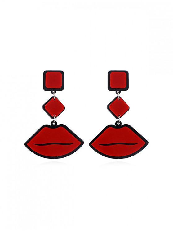 Pendientes de Gota de Acrílico Patrón de Labios - Rojo Lava