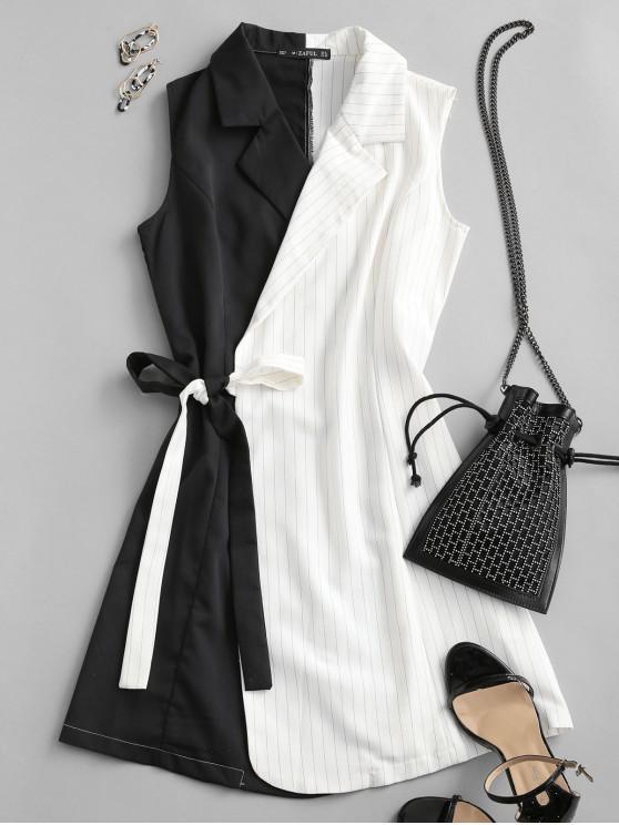 fancy ZAFUL Striped Colorblock Sleeveless Wrap Blazer Dress - MULTI S