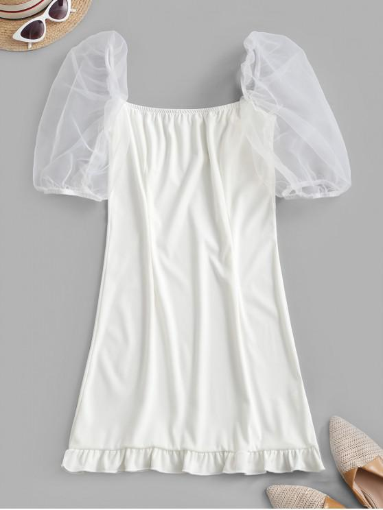 buy Organza Sleeve Ruffled Hem Milkmaid Mini Dress - WHITE S