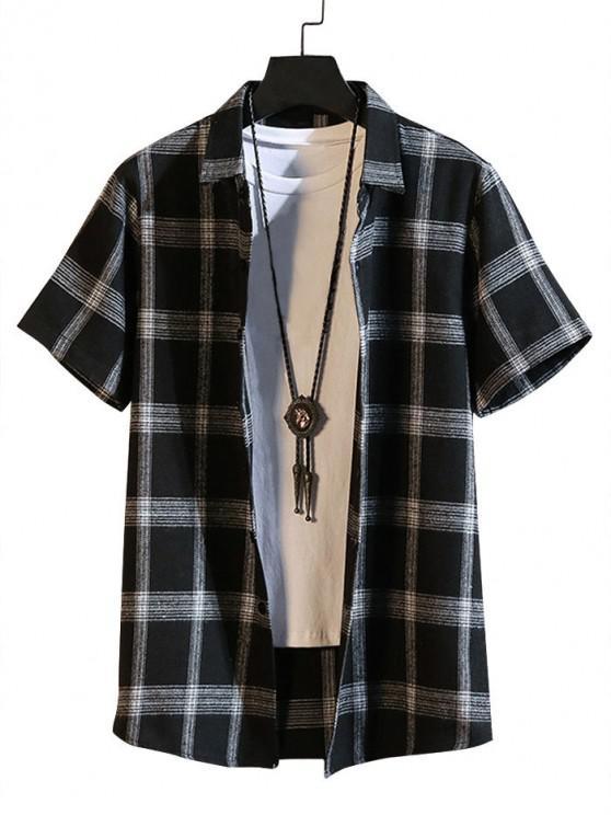 lady Button Up Plaid Print Short Sleeve Shirt - BLACK M