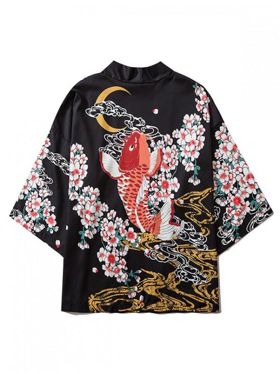 fashion Fish and Flowers Print Open Front Kimono Cardigan - BLACK XL