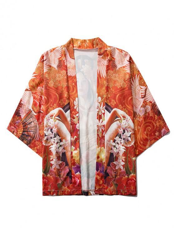 Cardigan KimonoElégant Floral Ouvert Avant - Orange 2XL