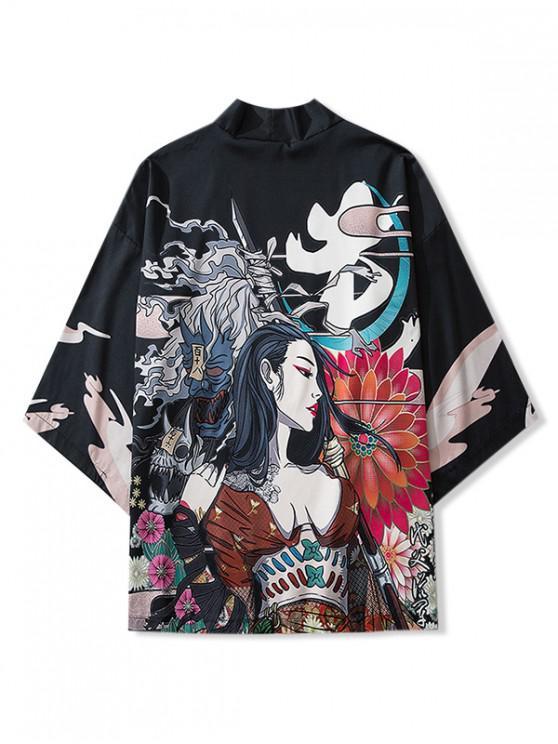 trendy Beauty and Flowers Print Open Front Kimono Cardigan - BLACK 2XL