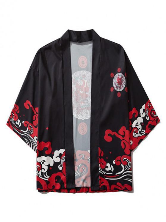 sale Open Front Oriental Printed Kimono Cardigan - BLACK M