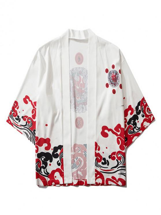 women Open Front Oriental Printed Kimono Cardigan - WHITE M