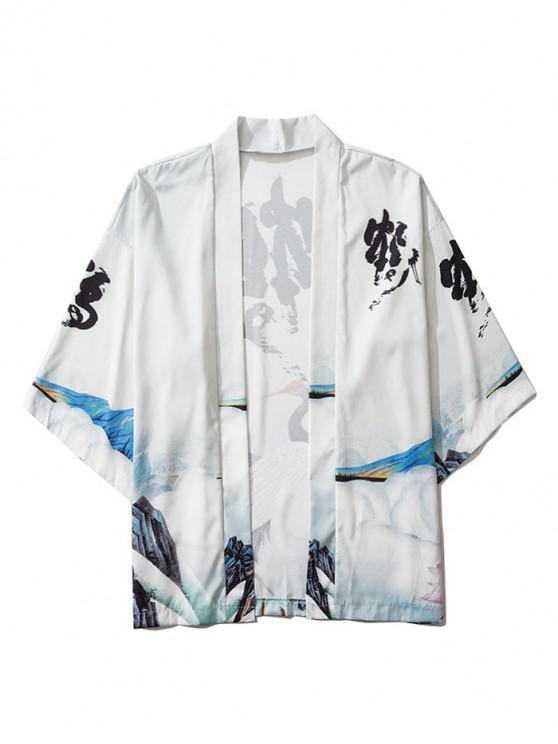women's Open Front Oriental Crane Printed Kimono Cardigan - WHITE 2XL