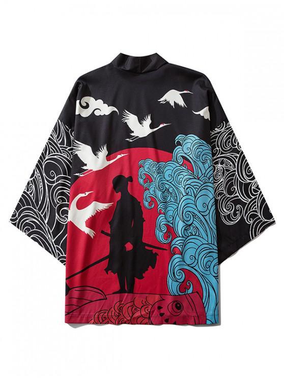 trendy Wave and Crane Print Kimono Cardigan - BLACK 2XL
