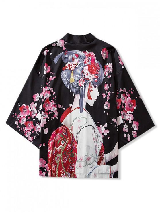 chic Japanese Beauty Print Open Front Kimono Cardigan - BLACK L