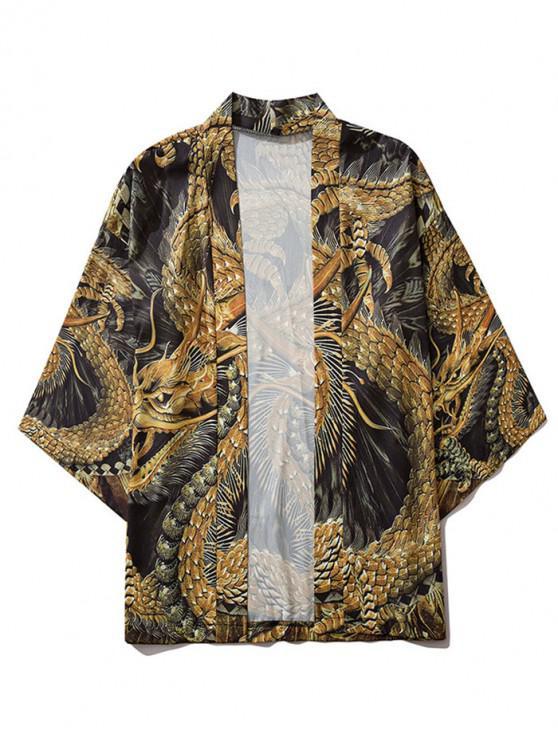 lady Open Front Oriental Dragon Kimono Cardigan - MULTI 2XL