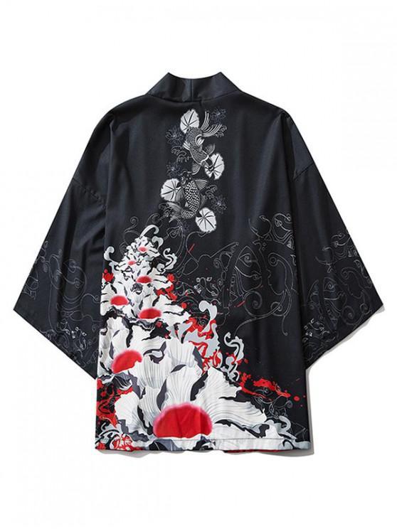 Blumen und Fischdruck Kimono mit Offener Vorderseite - Schwarz 2XL