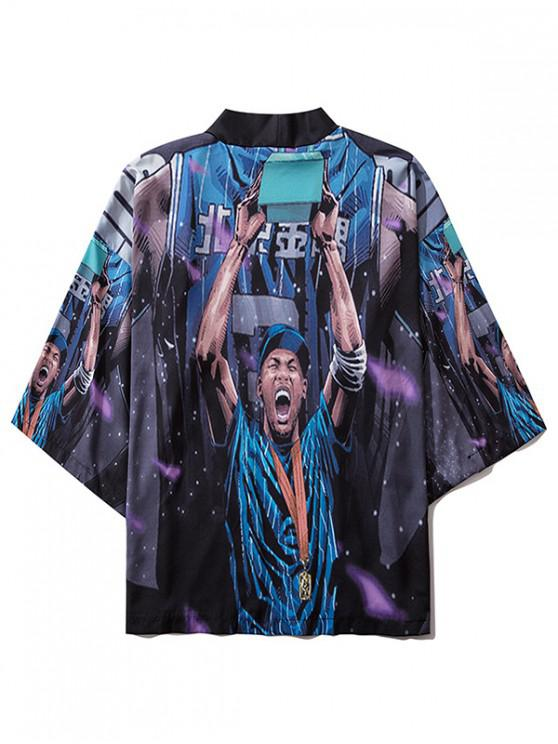 Excited Guy Print Open Front Kimono Cardigan - متعدد XL