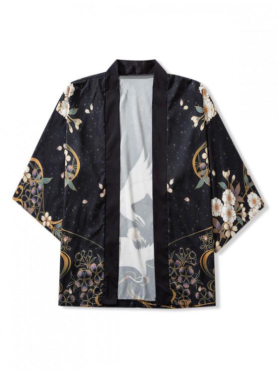 Birds and Flowers Print Open Front Kimono Cardigan - أسود XL