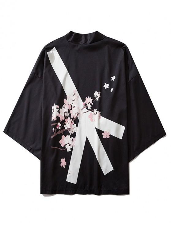 women's Open Front Plum Blossom Print Kimono Cardigan - BLACK L