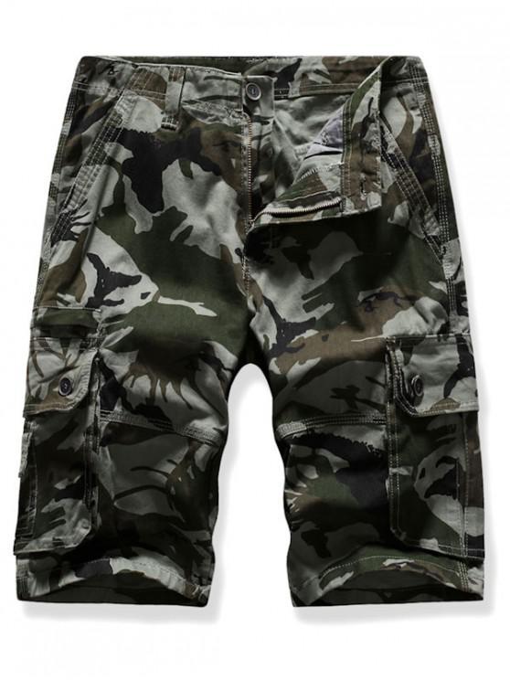 Mutil Flap Pocket Camouflage Cargo Shorts - الجيش الأخضر 38