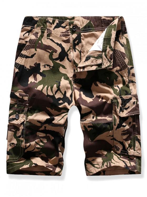 Mutil Flap Pocket Camouflage Cargo Shorts - ضوء الكاكي 38