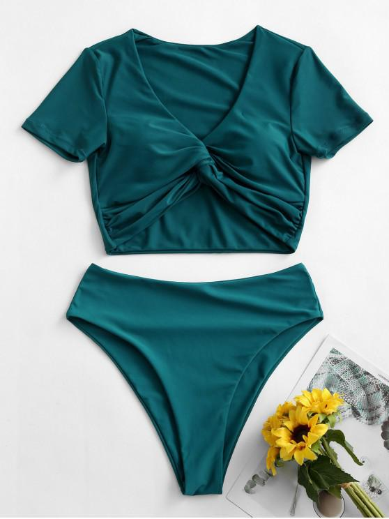 ZAFUL Cropped High Waisted Twist Front Two Piece Swimwear - ازرق مخضر XL