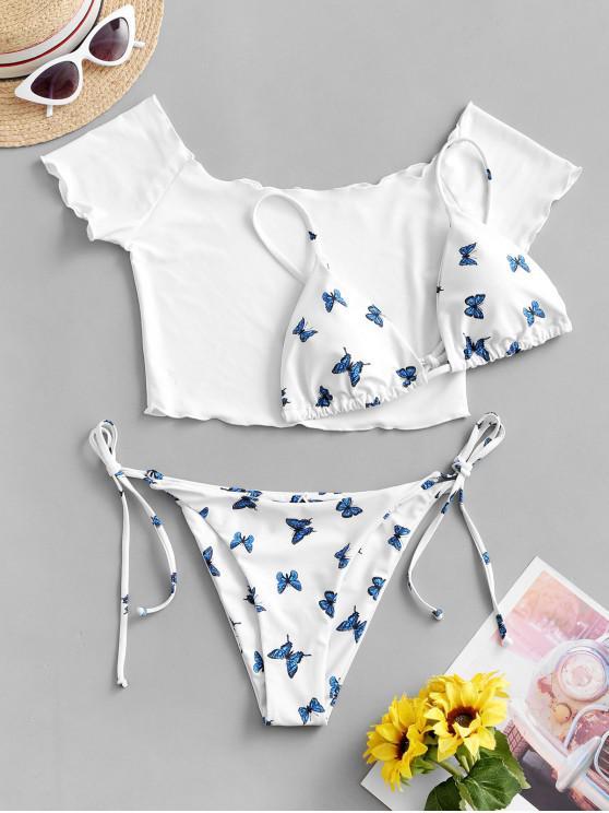 ZAFUL Bikini de Tres Piezas con Estampado de Mariposa y Hombro Descubierto - Blanco L