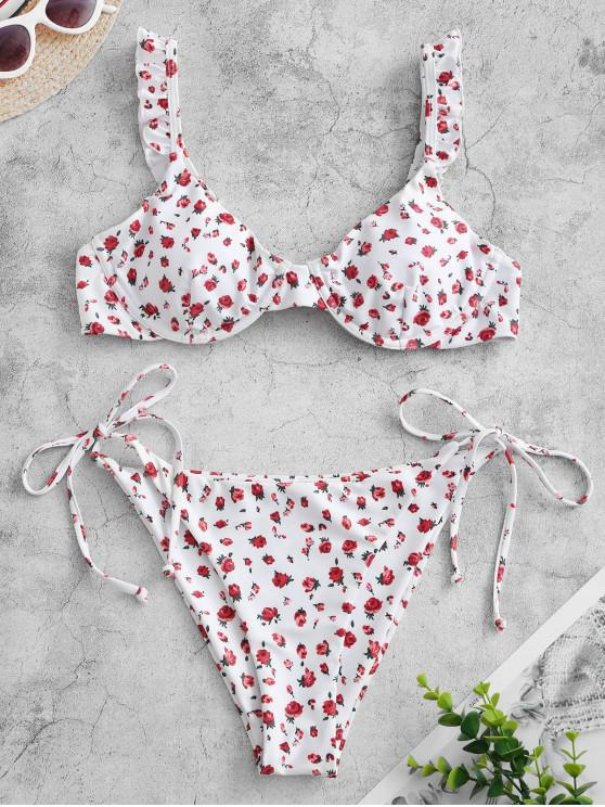 fashion ZAFUL Ruffled Ditsy Floral String Bikini Swimwear - WHITE S