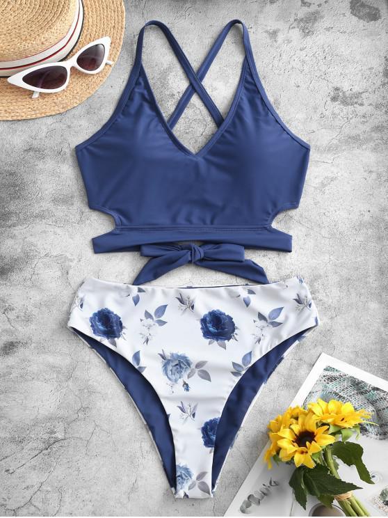 ZAFUL Reversible Criss Cross Floral Tankini Swimwear - اللازورد الأزرق S