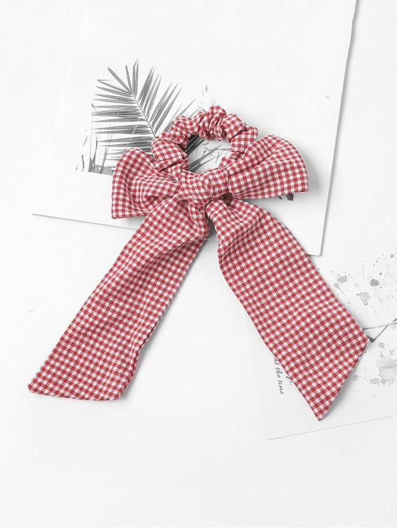 online Bowknot Plaid Print Hair Tie - RED
