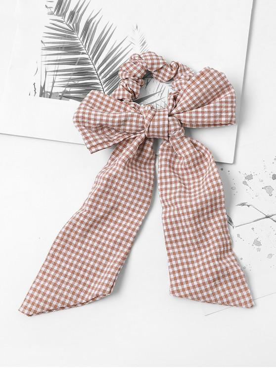 chic Bowknot Plaid Print Hair Tie - PINK