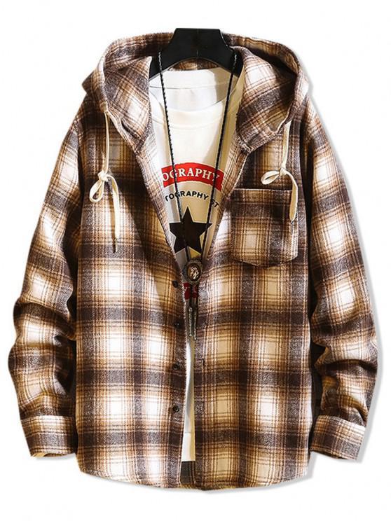 shop Hooded Plaid Print Button Up Shirt - LIGHT BROWN XS