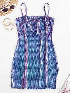 ZAFUL Robe Moulante Géométrique Métallisée Coloré à Bretelle - Pourpre  M