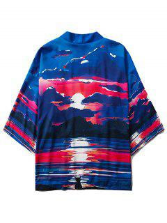 Cardigan Kimono Ouvert En Avant Lune Nuit Et Lac Imprimés - Bleu L