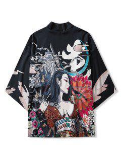 Schönheit Und Blumendruck Offener Vorder Kimono - Schwarz 2xl