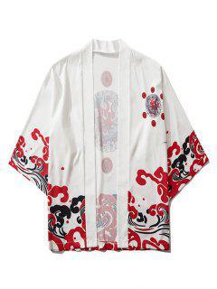 Open Front Oriental Printed Kimono Cardigan - White L