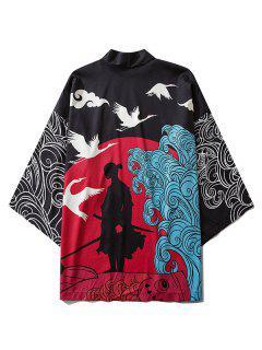 Kimono Mit Wellen Und Kran Aufdruck - Schwarz L