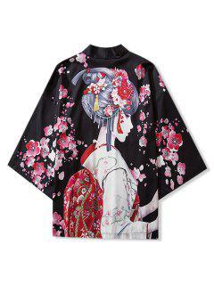 Japanese Beauty Print Open Front Kimono Cardigan - Black L