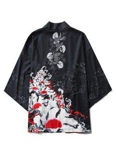 Flowers And Fishes Print Open Front Kimono Cardigan - Black Xl