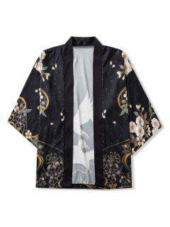 Cardigan Kimono Ouvert En Avant Oiseaux Et Fleurs Imprimés - Noir Xl