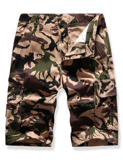 Mutil Flap Pocket Camouflage Cargo Shorts - Light Khaki 38