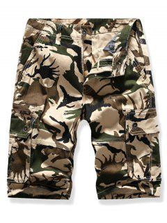 Mutil Flap Pocket Camouflage Cargo Shorts - Beige 38