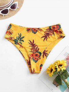 ZAFUL High Waisted Floral Bikini Bottom - Mustard M